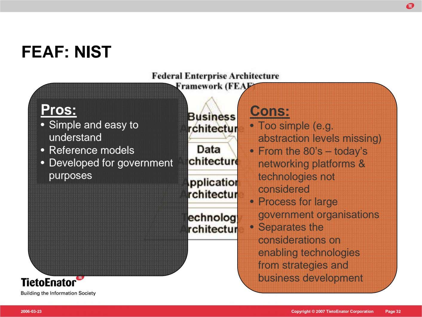 FEAF: NIST Pros: Cons: • Simple and easy to understand • Too simple (e.g. abstraction