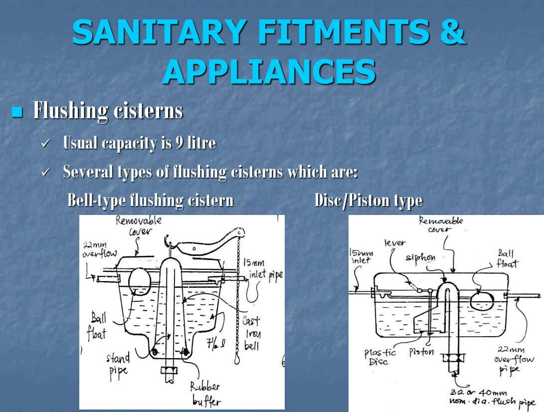 SANITARY FITMENTS & APPLIANCES Flushing cisterns  Usual capacity is 9 litre  Several types of