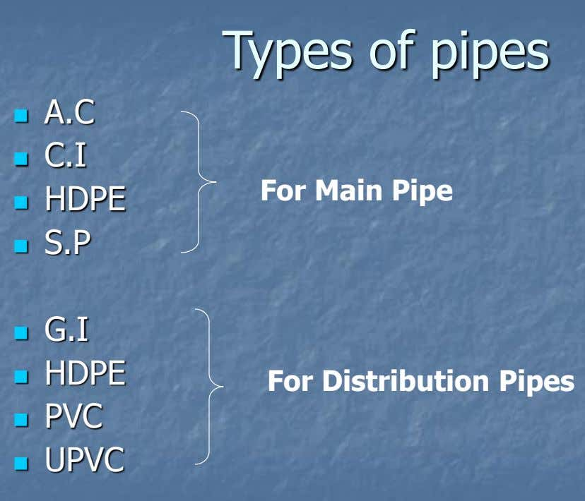 Types of pipes A.C  C.I  For Main Pipe HDPE  S.P  G.I 