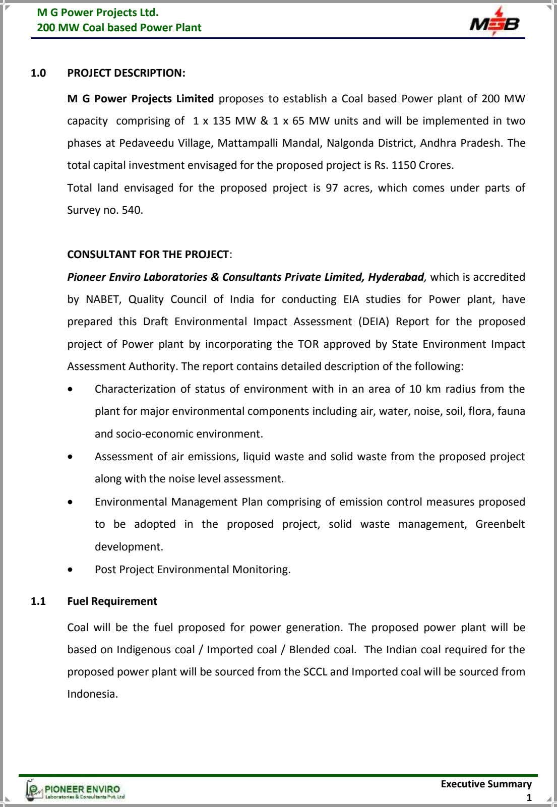M G Power Projects Ltd. 200 MW Coal based Power Plant 1.0 PROJECT DESCRIPTION: M