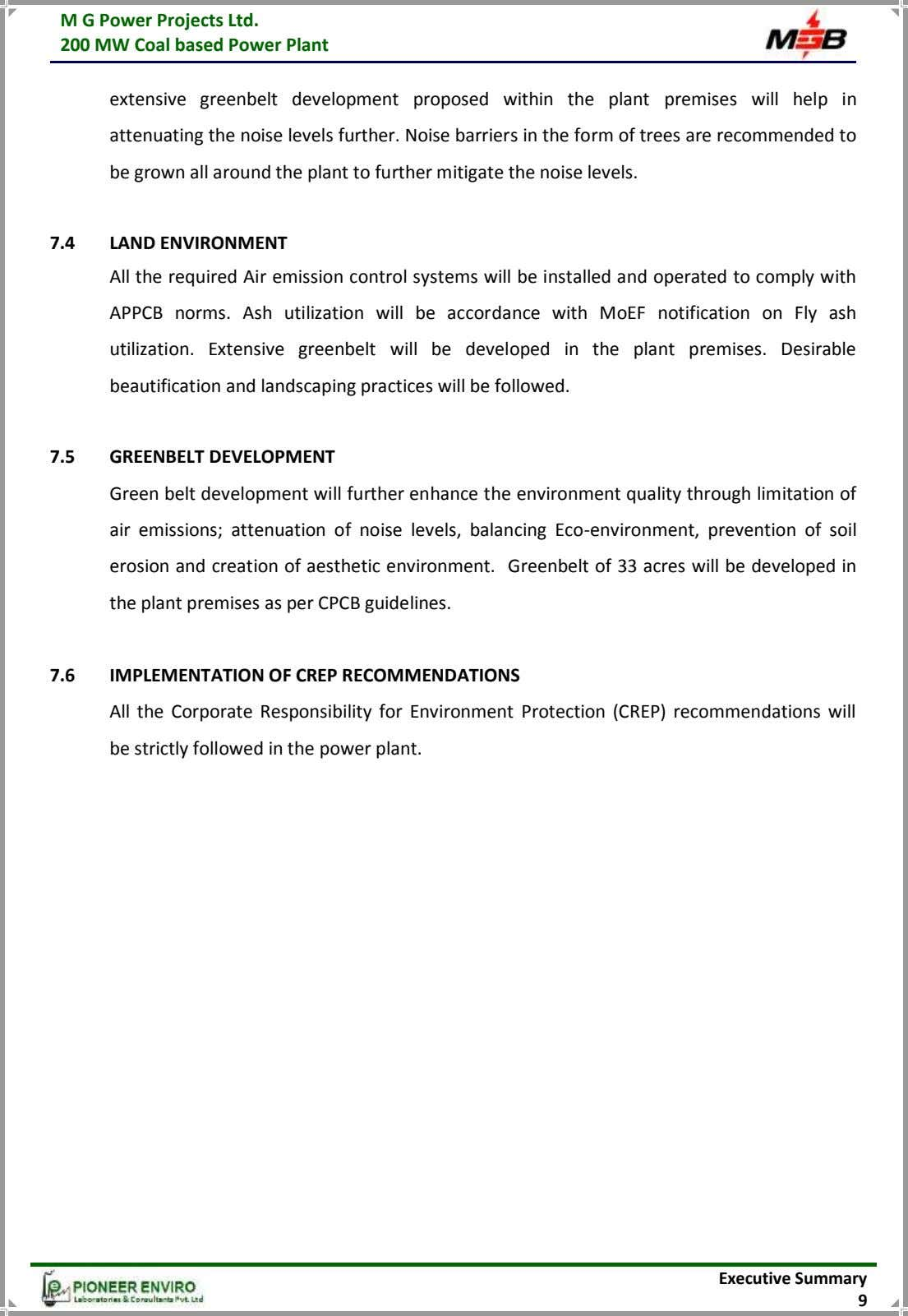 M G Power Projects Ltd. 200 MW Coal based Power Plant extensive greenbelt development proposed