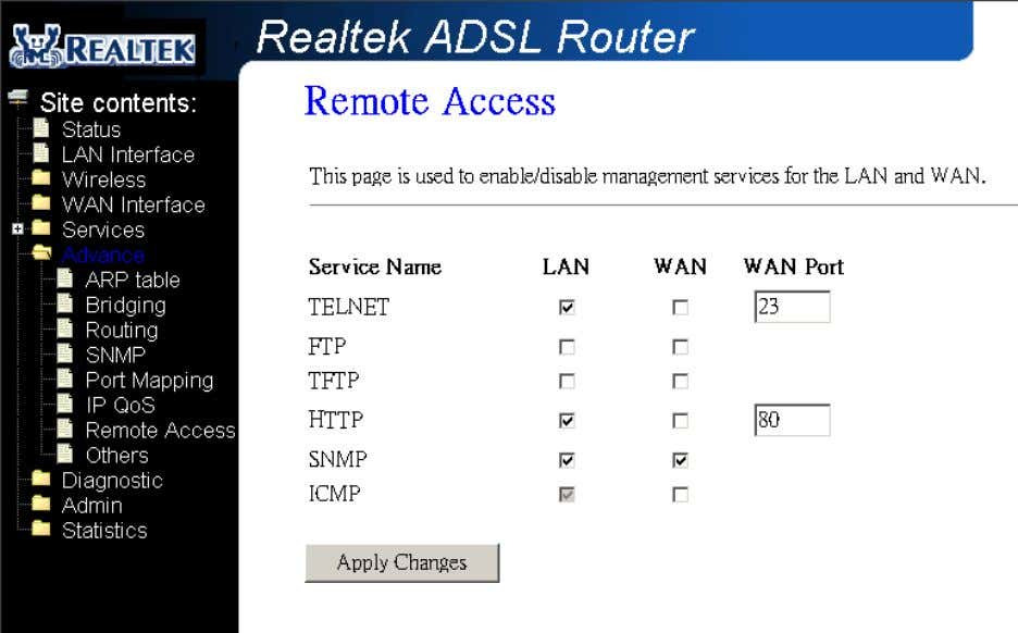 interfaces for some services provided by the DSL device. Fields in this page: Field Description LAN