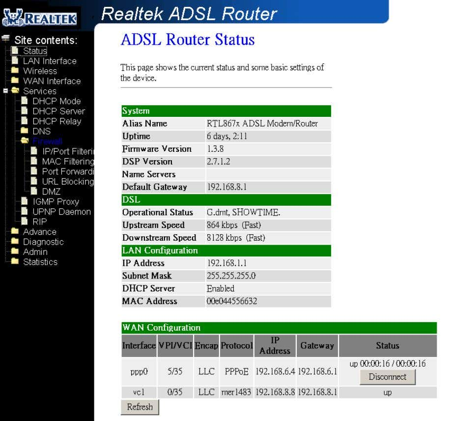 This page displays the ADSL m odem/router's current status and settings. This information is read-only
