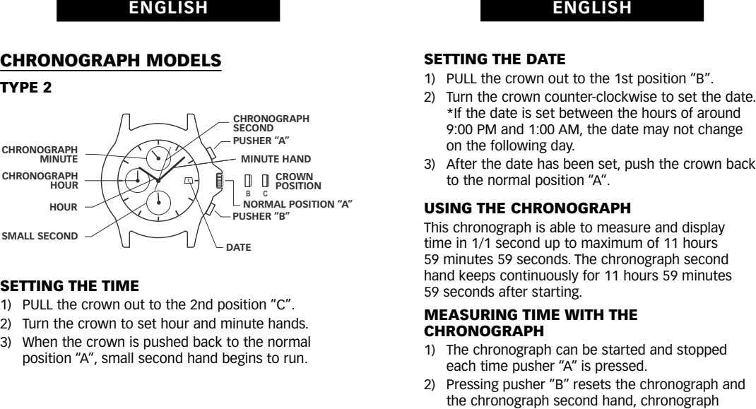 "ENGLISH ENGLISH CHRONOGRAPH MODELS SETTING THE DATE 1) TYPE 2 2) CHRONOGRAPH SECOND PUSHER ""A"""
