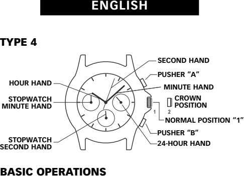 "ENGLISH TYPE 4 SECOND HAND PUSHER ""A"" HOUR HAND MINUTE HAND STOPWATCH CROWN MINUTE HAND"