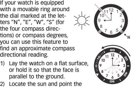 If your watch is equipped with a movable ring around the dial marked at the
