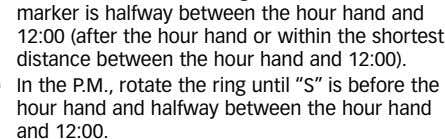"12:00). In the P.M., rotate the ring until ""S"" is before the hour hand and halfway"