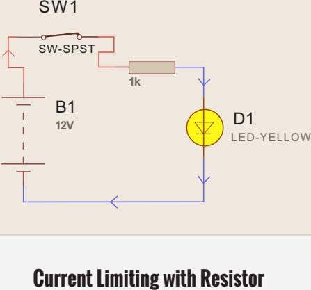 SW1 SW-SPST 1k B1 D1 12V LED-YELLOW Current Limiting with Resistor