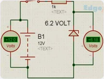 6.2V because the rating of the Zener diode is 6V. So, this diode is functioning properly.