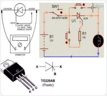 the anode and gate for a moment causes the lights to Thyristor Testing turn on. The