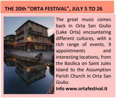 "THE 20th ""ORTA FESTIVAL"", JULY 5 TO 26 The great music comes back in Orta"