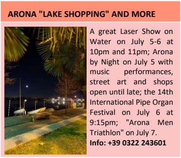 "ARONA ""LAKE SHOPPING"" AND MORE A great Laser Show on Water on July 5-6 at"