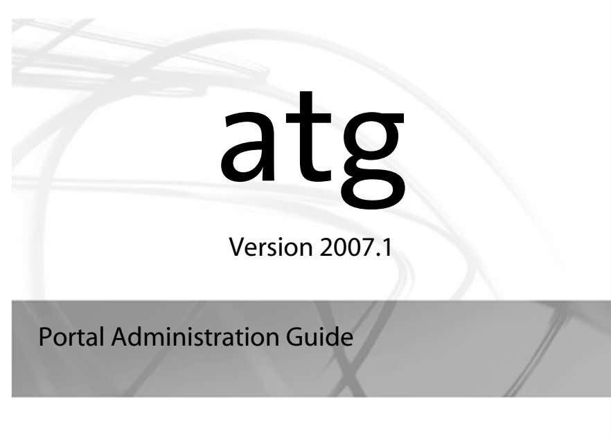 atg Version 2007.1 Portal Administration Guide