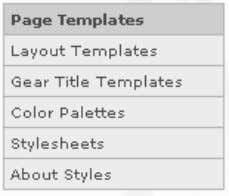 which lists all of the page templates available in the PAF. Page Templates Page templates supply