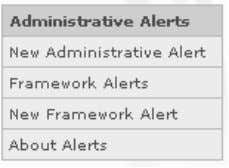 panel in the Alerts tab lists the tasks you can perform: You can create new administrative