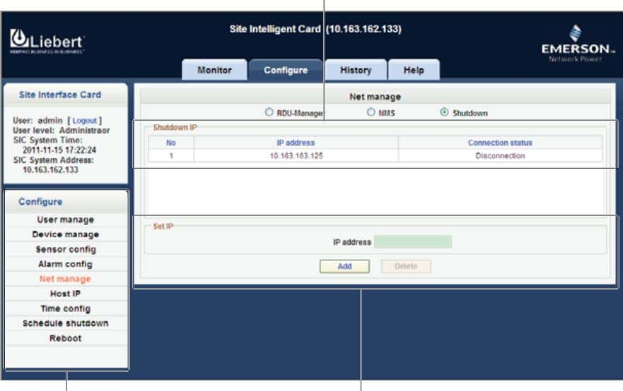 and set IP area, as shown in Figure 4-24. Shutdown IP list Configure tree view menu