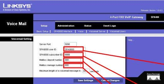 (SPA400 IP Address) Figure 3: SPA400 Configuration Utility, Setup / Voicemail Server Page Figure 4: