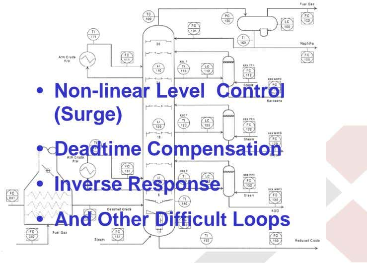 • Non-linear Level Control (Surge) • Deadtime Compensation • Inverse Response • And Other Difficult