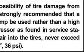 To minimize the possibility of tire damage from over-inflation, we strongly recommended that a manual