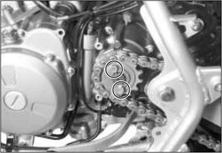 the reverse gear cable ⑦ . . and ● Remove the engine sprocket with drive chain.