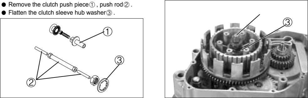 ● Remove the clutch push piece ① , push rod ② . ① ● Flatten