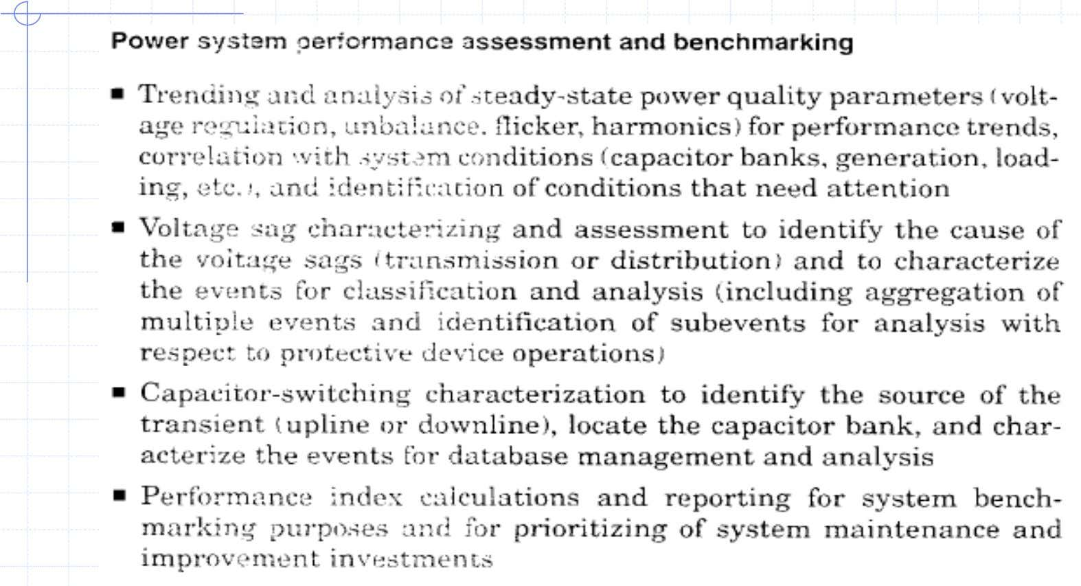 Power Sys. Perfm. Assessment and Benchmarking