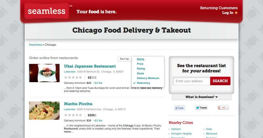 16 Image E: GrubHub Filter Option and Search Box. Image F: Seamless Filter Option