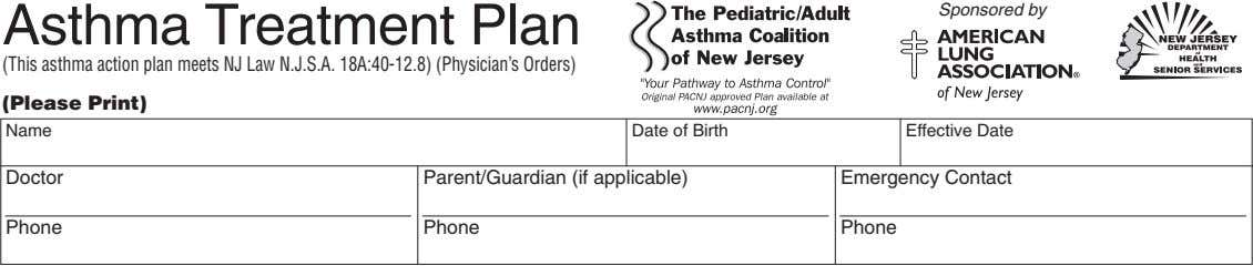 Sponsored by Asthma Treatment Plan (This asthma action plan meets NJ Law N.J.S.A. 18A:40-12.8) (Physician's