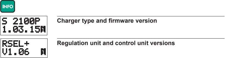 Charger type and firmware version Regulation unit and control unit versions