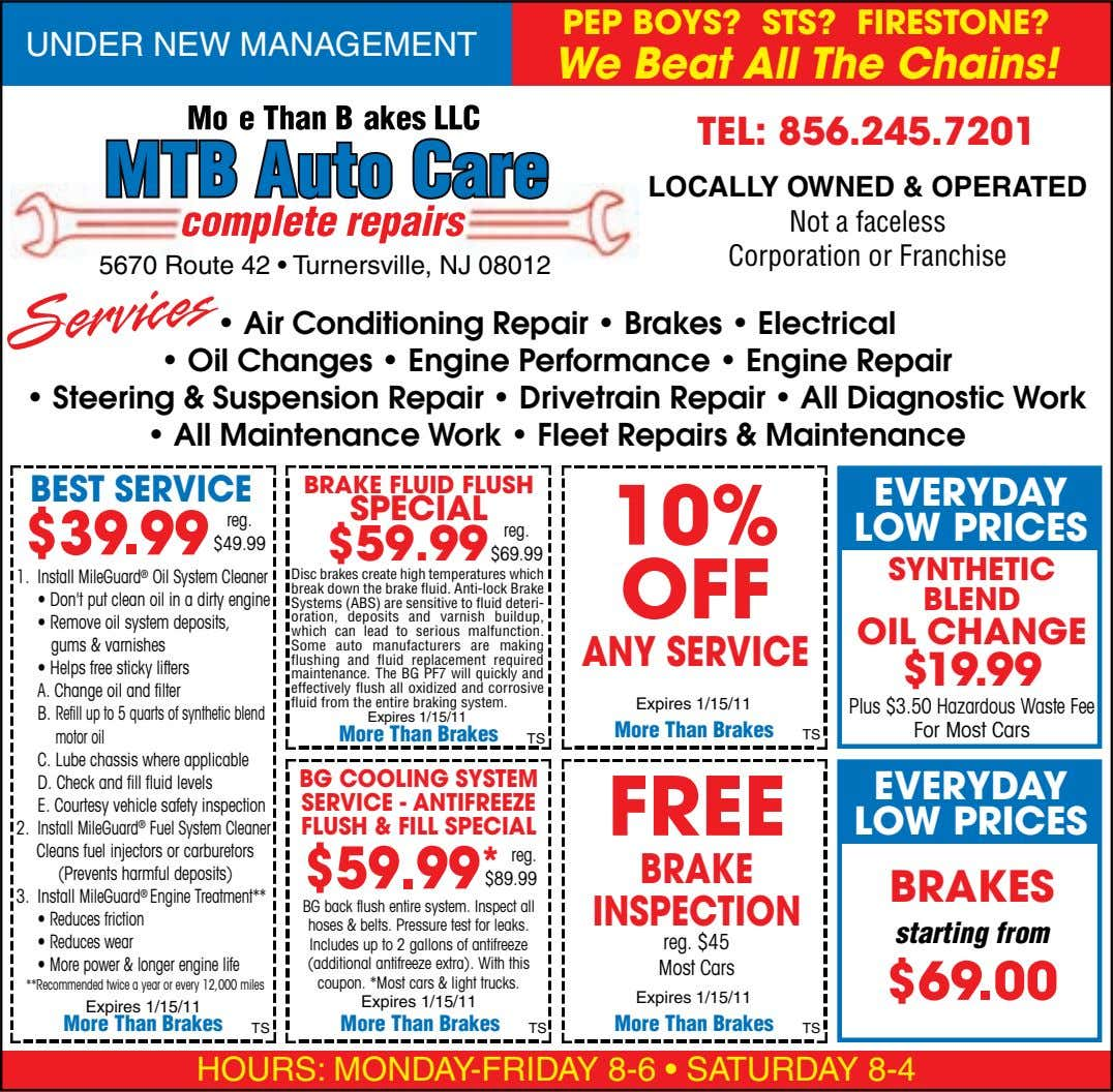 PEP BOYS? STS? FIRESTONE? UNDER NEW MANAGEMENT We Beat All The Chains! TEL: 856.245.7201 LOCALLY OWNED