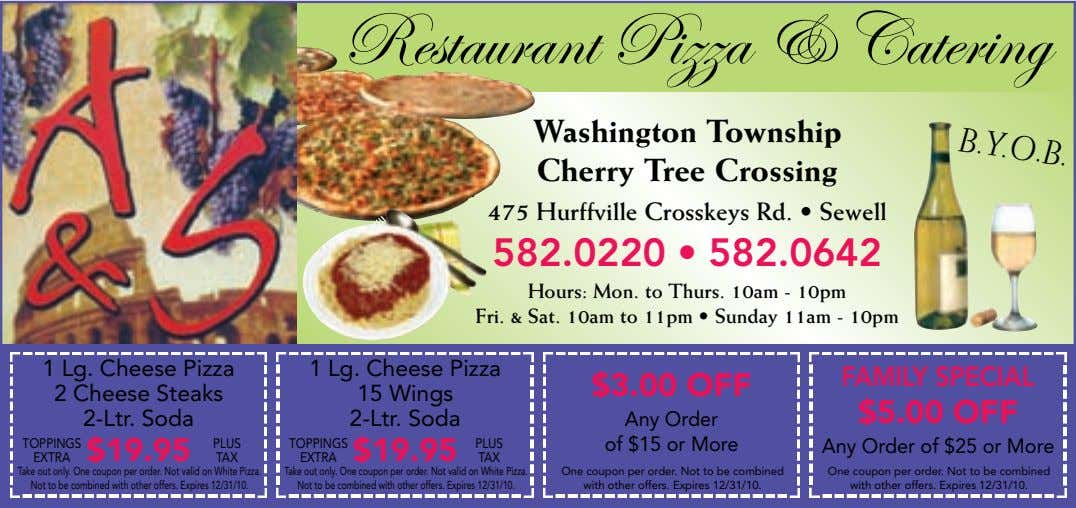 B.Y.O.B. Restaurant Pizza & Catering Washington Township Cherry Tree Crossing 475 Hurffville Crosskeys Rd. • Sewell