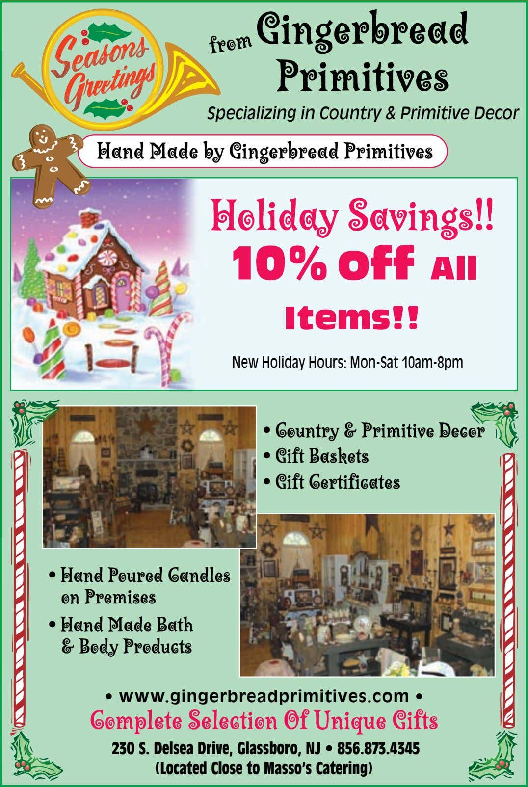 Gingerbread Primitives from Specializing in Country & Primitive Decor Hand Made by Gingerbread Primitives Holiday Savings!!