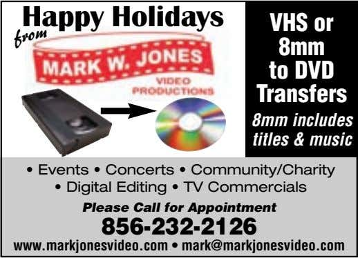 Happy Holidays VHS or 8mm to DVD Transfers from 8mm includes titles & music • Events