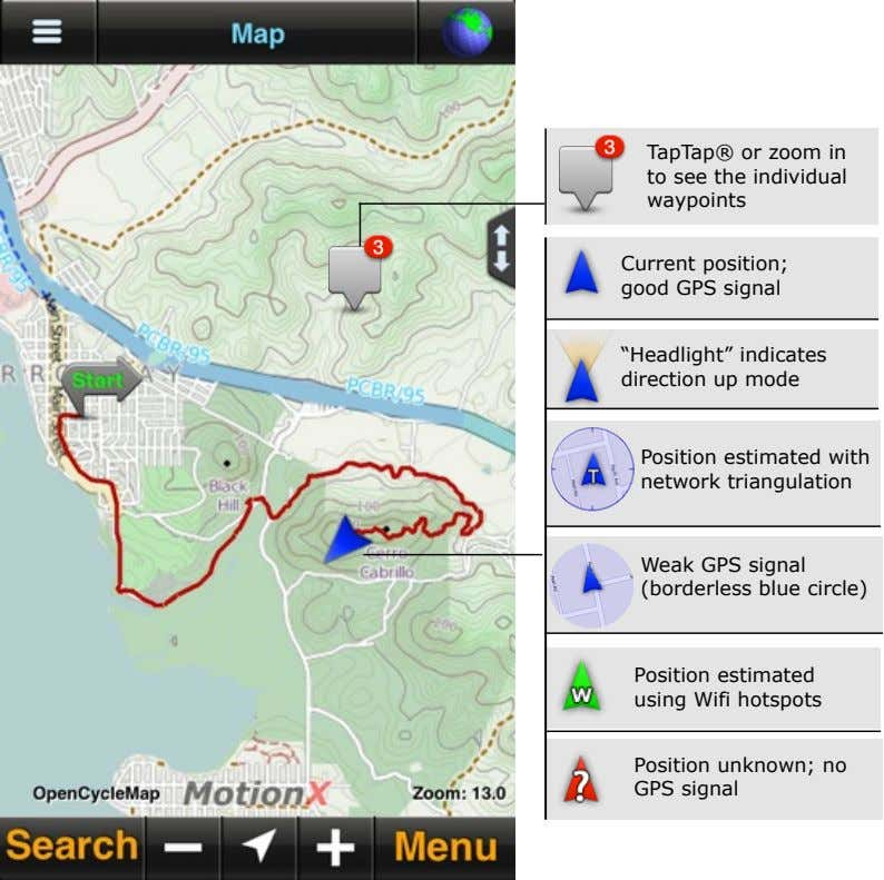 "TapTap® or zoom in to see the individual waypoints Current position; good GPS signal ""Headlight"""