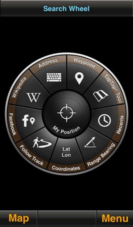 your current position and the waypoint. MotionX Search Wheel Address input: • Location or landmark, e.g.