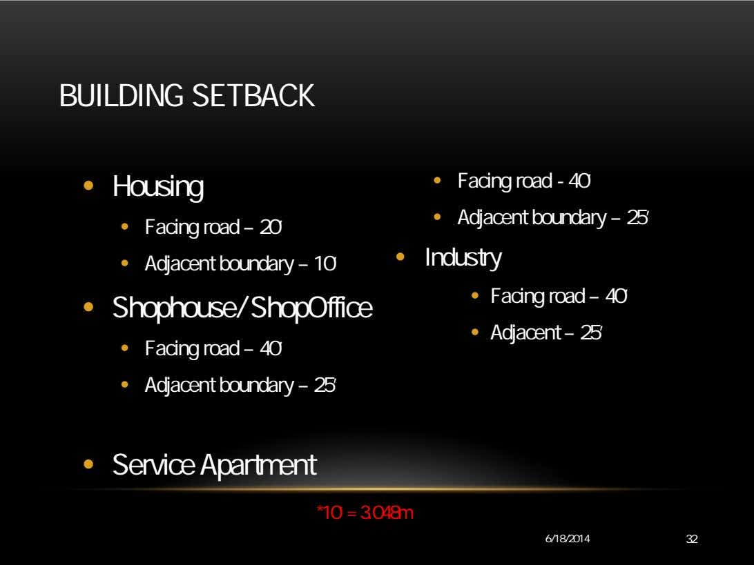 BUILDING SETBACK • Housing • Facing road - 40' • Adjacent boundary – 25' •