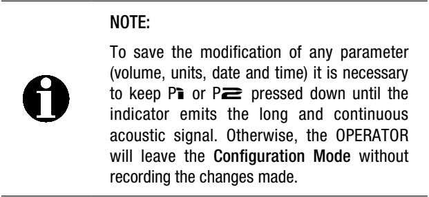 NOTE: To save the modification of any parameter (volume, units, date and time) it is