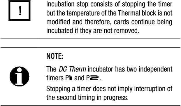 Incubation stop consists of stopping the timer but the temperature of the Thermal block is