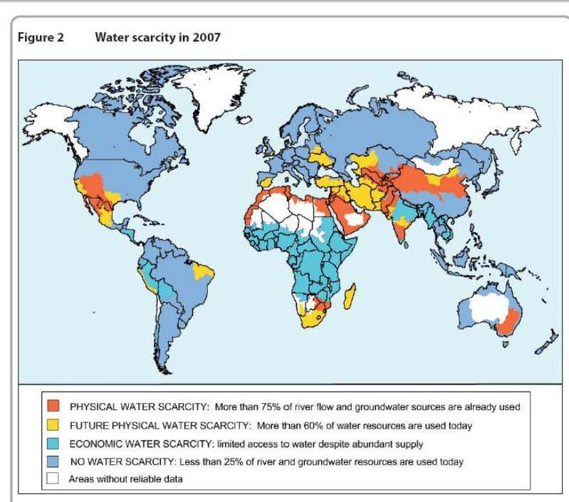 Explain how physical and human factors have contributed to the variation in water scarcity shown (10)