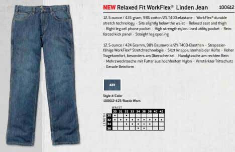 NEW Relaxed Fit WorkFlex® Linden Jean 100612 12.5-ounce / 424 gram, 98% cotton/2% T400-elastane ·