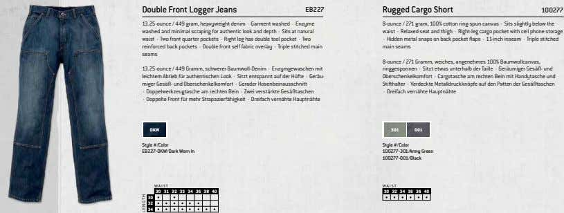 Double Front Logger Jeans EB227 Rugged Cargo Short 100277 13.25-ounce / 449 gram, heavyweight denim
