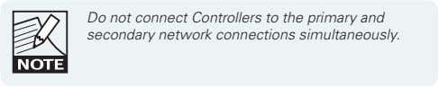 Do not connect Controllers to the primary and secondary network connections simultaneously.