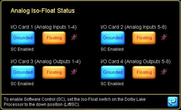 troubleshoot grounding issues remotely from the Controller. Figure 4-25: Analog Iso-Float Status Screen The ANALOG