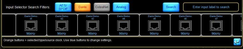 these channels can be selected as the inputs for the device. Figure 4-28: Dante Inputs available
