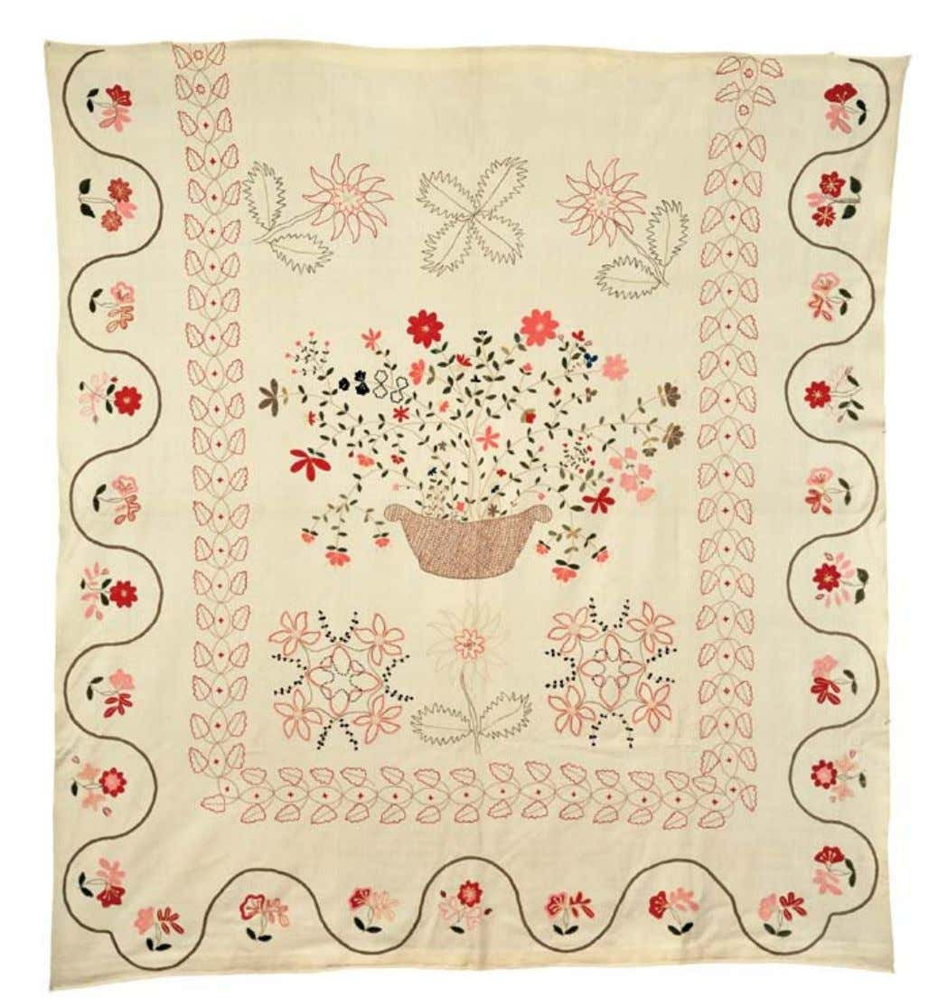 209 209. Embroidered Wool Coverlet, New England, 18th century, the coverlet ornamented with polychrome wool yarns