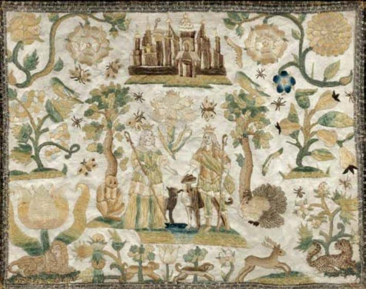 210 210. English Pictorial Silk Needlework, mid-17th century, stitched with silk, metallic threads, and metallic braid