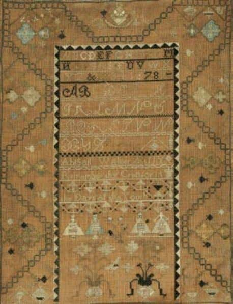 "212 213 212. Needlework Sampler, ""Rebecca Whites Sampler worked in the twelfth year of her age"