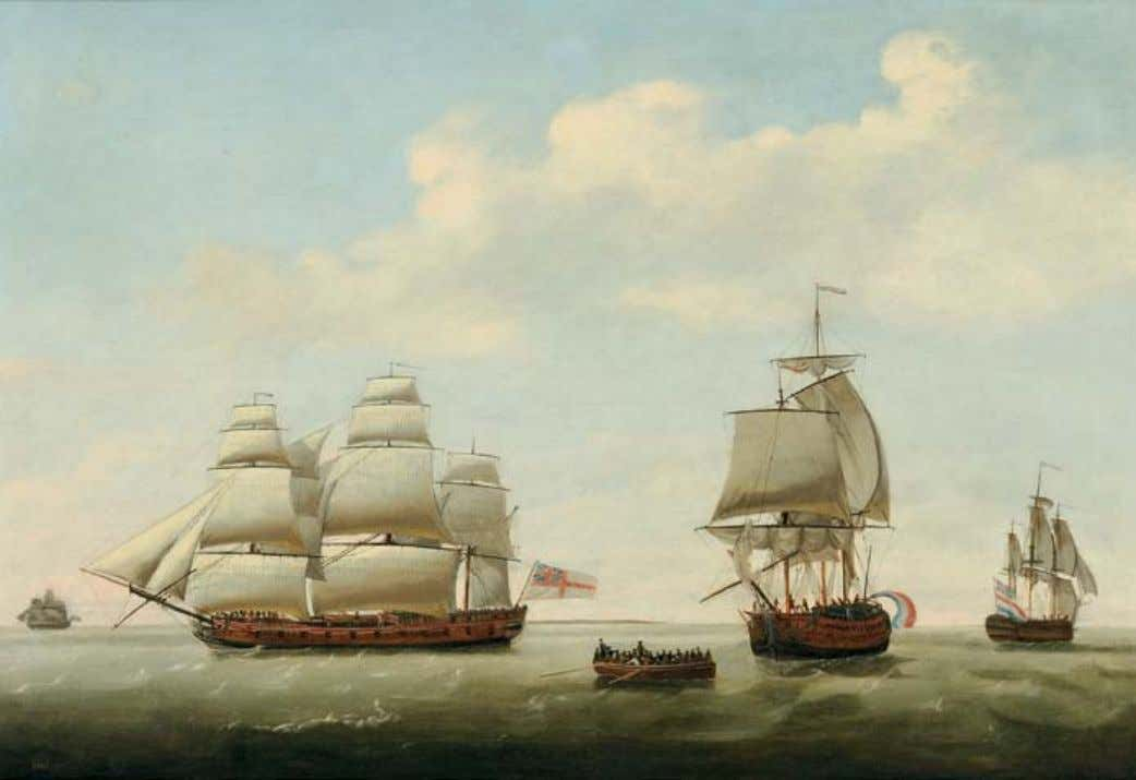 402 402. Francis Holman (British, 1767-1790) Royal Navy Squadron of the White, Merchantman, and Other Vessels