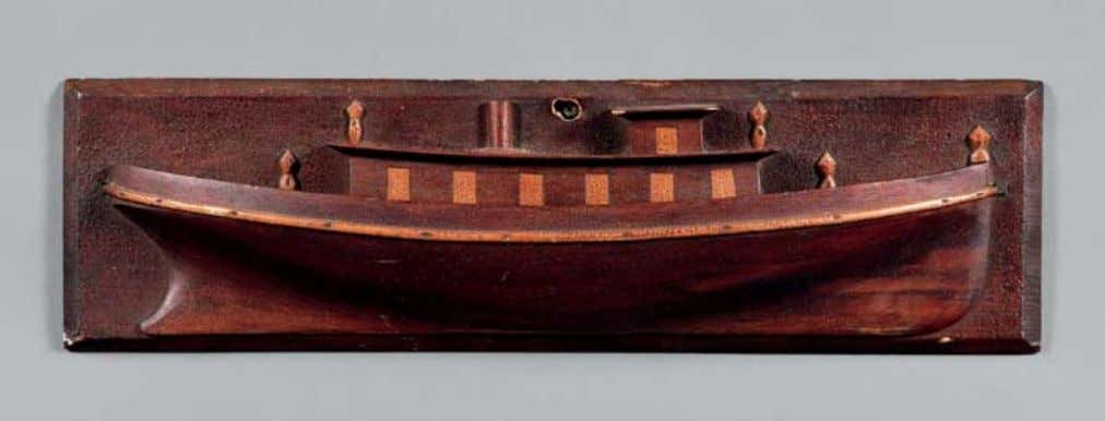 412 412. Tugboat Half Hull Model Wall Plaque, America, 19th century, with contrasting wood details, ht.