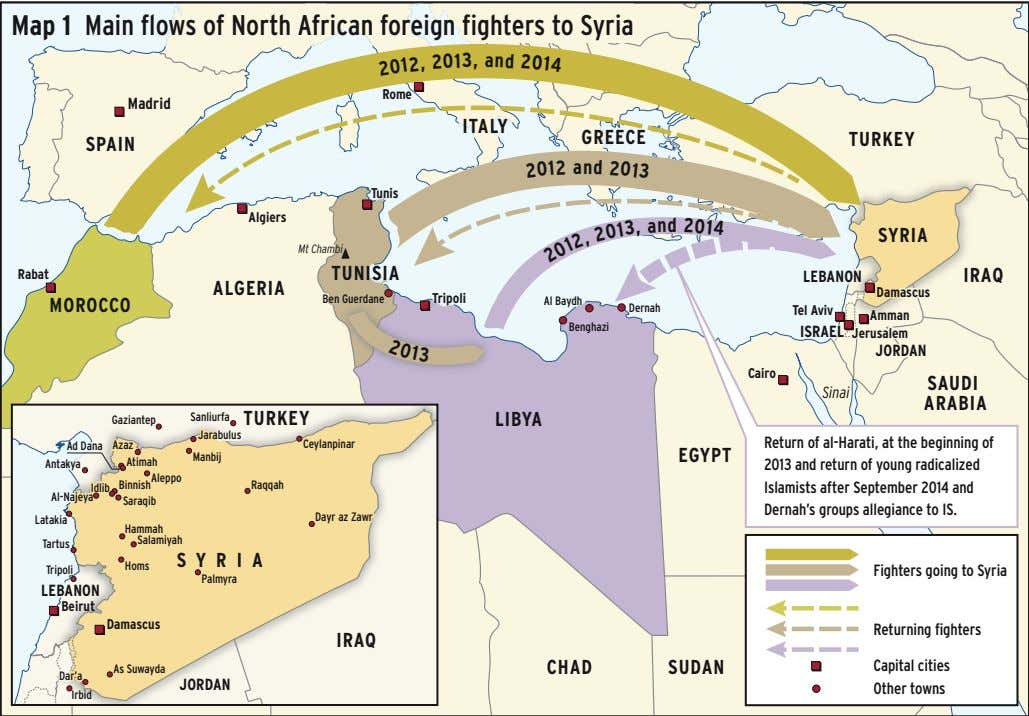 4 01 2 Map 1 Main flows of North African foreign fighters to Syria d